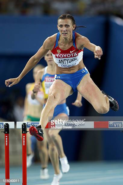 Natalya Antyukh of Russia competes in the women's 400 metres semi finals during day four of the 13th IAAF World Athletics Championships at the Daegu...