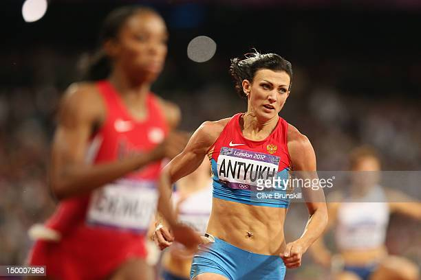 Natalya Antyukh of Russia competes in the Women's 400m Hurdles Final on Day 12 of the London 2012 Olympic Games at Olympic Stadium on August 8 2012...