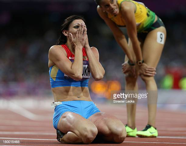 Natalya Antyukh of Russia reacts as she wins gold in the Women's 400m Hurdles Final on Day 12 of the London 2012 Olympic Games at Olympic Stadium on...