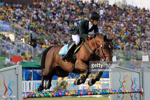 Natalya Coyle of Ireland competes during the Women's Riding Modern Pentathlon on Day 14 of the Rio 2016 Olympic Games at the Deodoro Stadium on...