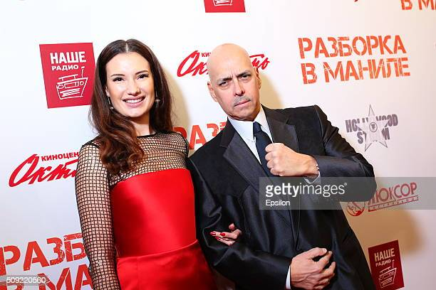 Natalya Gubina and Robert Madrid attend 'Showdown in Manila' premiere in October cinema hall on February 9 2016 in Moscow Russia
