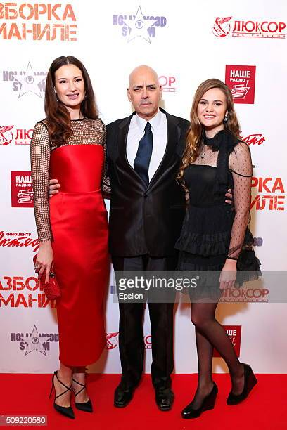 Natalya Gubina Robert Madrid and Polina Butorina attend 'Showdown in Manila' premiere in October cinema hall on February 9 2016 in Moscow Russia