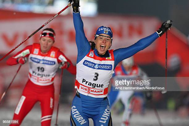 Natalya Korostelyova of Russia celebrates her victory during the individual sprint women for the FIS Cross Country World Cup Tour de Ski on January...