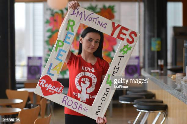 Natalya O'Flaherty a spoken word artist and an activist holds 'I am Voting YES' frame during a Rally for Equality Freedom amp Choice organised by...