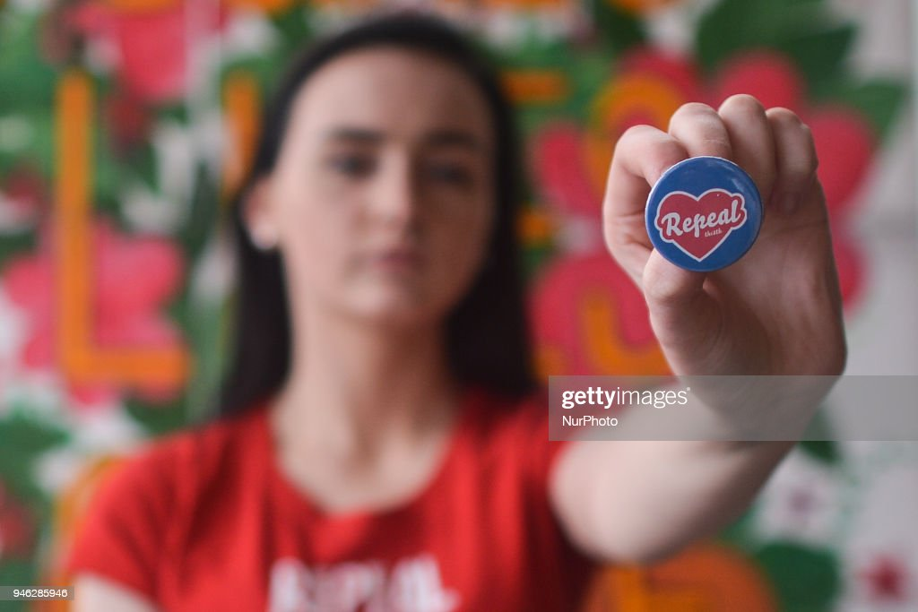 Natalya O'Flaherty, a spoken word artist and an activist holds 'Repeal' badge during a Rally for Equality, Freedom & Choice organised by ROSA - an Irish Socialist Feminist Movement at Liberty Hall in Dublin. On Saturday, April 14, 2018, in Dublin, Ireland.