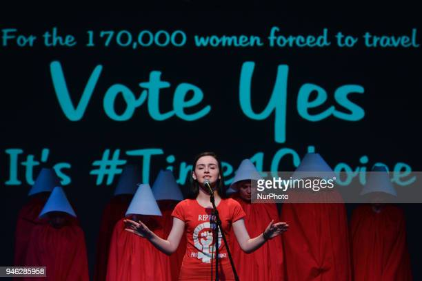 Natalya O'Flaherty spoken word artist and ROSA activists dressed as 'Handmaids' during a Rally for Equality Freedom amp Choice organised by ROSA an...
