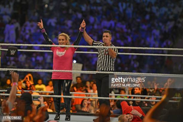 Natalya reacts after defeating Lacey Evans during the World Wrestling Entertainment Crown Jewel payperview in Riyadh on October 31 2019