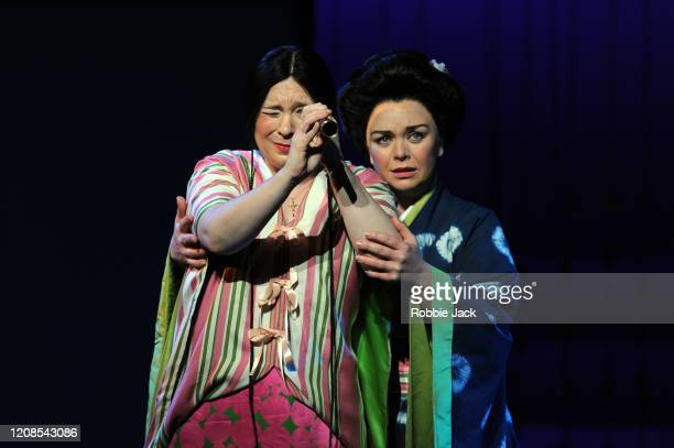 """Natalya Romaniw as Cio-Cio San and Stephanie Windsor as Suzuki in the English National Opera's production of Giacomo Puccini's """"Madam Butterfly"""" at..."""