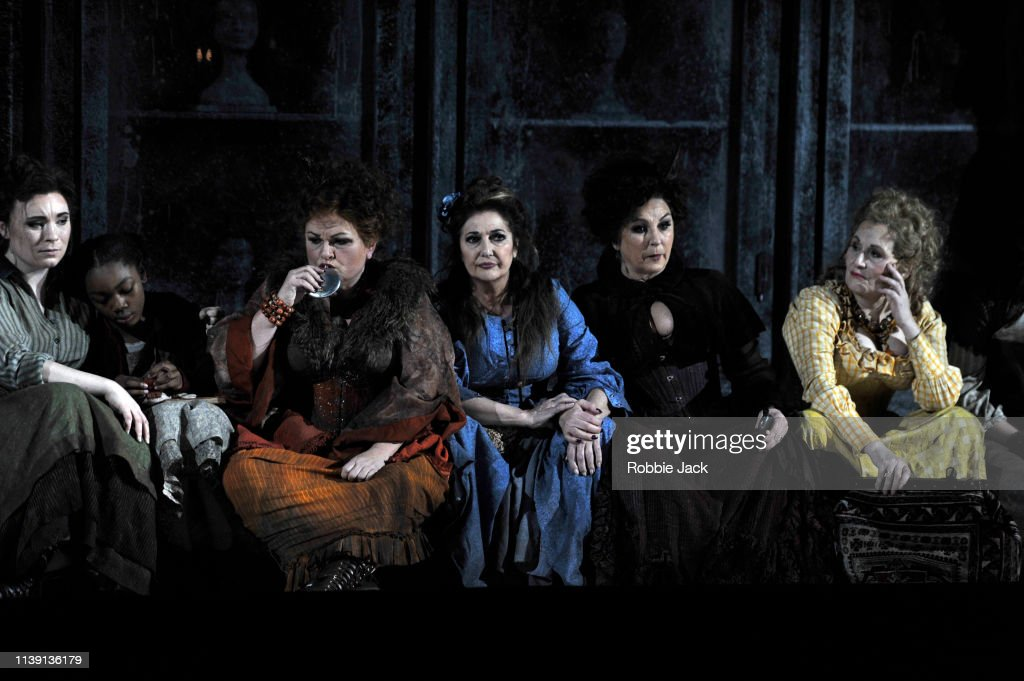LONDON, ENGLAND - MARCH 28:  Natalya Romaniw as Mary Kelly, Actor, Susan Bullock as Liz Stride, Marie McLaughlin as Annie Chapman, Lesley Garrett as Catherine EddoEnglish National Opera's Production Of Iain Bell's Jack The Ripper:The Women Of Whitechapel : News Photo