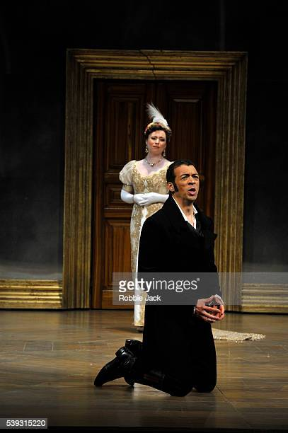 Natalya Romaniw as Tatyana and Roderick Williams as Eugene Onegin in Garsington Opera's production of Pyotr Ilyich Tchaikovsky's Eugene Onegin...