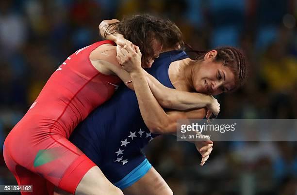 Natalya Sinishin of Azerbaijan competes against Betzabeth Angeli Arguello Villegas of Venezuela during the Women's Freestyle 53 kg Bronze medal match...