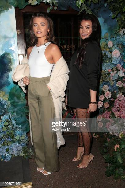 Natalya Wright and Jessica Wright seen attending PrettyLittleThing x Tatti Lashes dinner at The ivy Chelsea Garden on February 13 2020 in London...