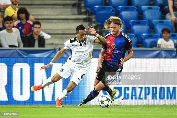 Natanael of Ludogorets and Birkir Bjarnason of Basel during the Uefa Champions League match between Basel Fc and PFC Ludogorets Razgrad on September...