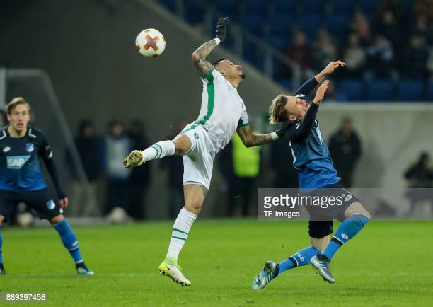 Natanael of Ludogorets and Felix Passlack of Hoffenheim battle for the ball during the UEFA Europa League group C match between 1899 Hoffenheim and...