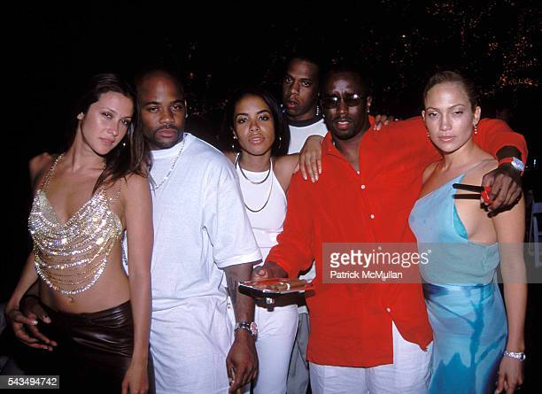 Natane Adcock Damon Dash Aaliyah Jay Z Sean Puff Daddy Combs and Jennifer Lopez at Puff Daddy's Fourth of July Party on July 2 2000 in East Hampton