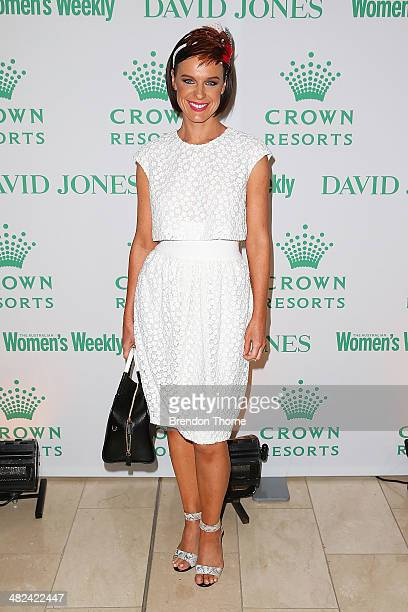 Natarsha Belling arrives at the David Jones and Crown Resorts Autumn Racing Ladies Lunch at David Jones on April 4 2014 in Sydney Australia