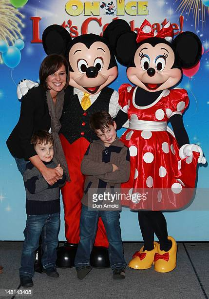 Natarsha Belling poses alongside sons Hugo and Harrison at the Disney On Ice Premiere at Allphones Arena on July 11 2012 in Sydney Australia