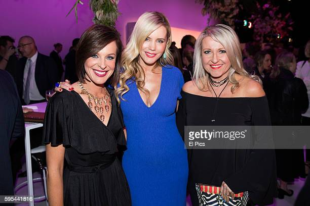 Natarsha Belling Sophie Faulkner Angela Bishop pose at the party during the Myer Spring 16 Launch at Hordern Pavilion on August 23 2016 in Sydney...