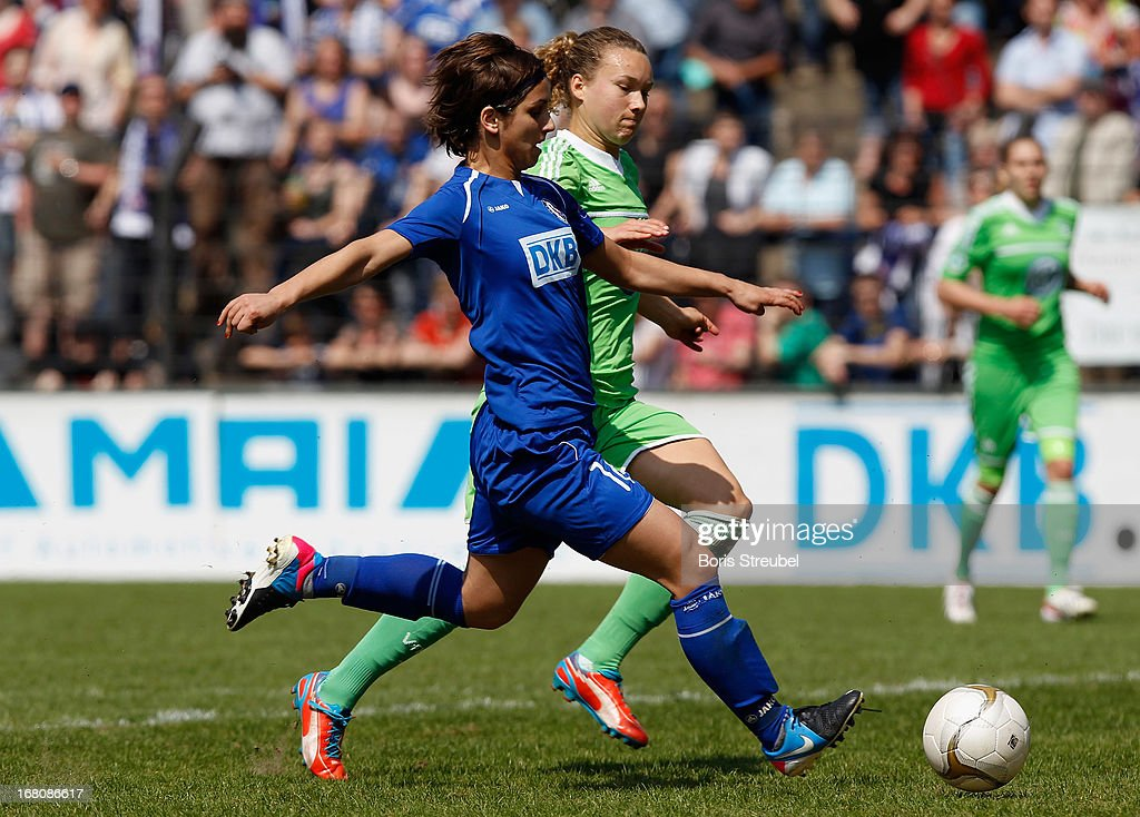 Natasa Andonova of Potsdam (L) scores her team's first goal during the Women's Bundesliga match between 1. FFC Turbine Potsdam and VfL Wolfsburg on May 5, 2013 in Potsdam, Germany.