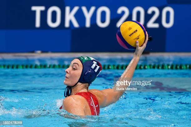 Natasa Rybanska of Team Hungary on attack during the Women's Semifinal match between Spain and Hungary on day thirteen of the Tokyo 2020 Olympic...
