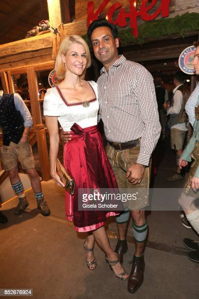 Natascha Gruen and her boyfriend Param Multani during the Oktoberfest at Theresienwiese on September 23 2017 in Munich Germany