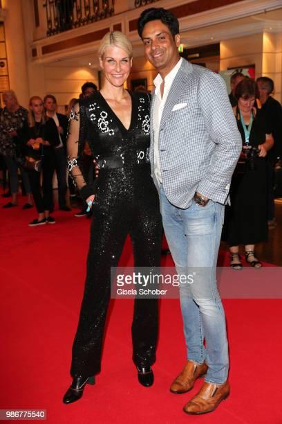 Natascha Gruen and her boyfriend Param Multani during the opening night of the Munich Film Festival 2018 reception at Hotel Bayerischer Hof on June...
