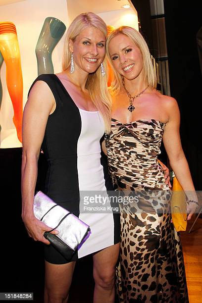 Natascha Gruen and Isabel Edvardsson attend the New Faces Award Fashion 2012 aftershow party at Rheinterrasse on July 28 2012 in Duesseldorf Germany