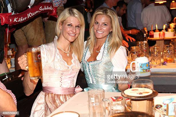 Natascha Gruen and Natalie Bantele during Oktoberfest at Kaeferzelt/Theresienwiese on October 2 2014 in Munich Germany