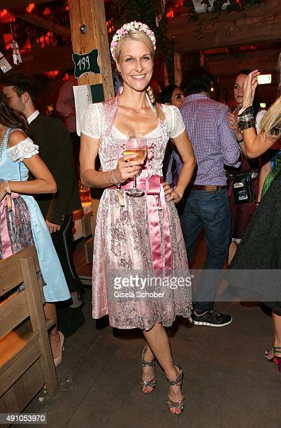 Natascha Gruen dresscoded wearing a dirndl by Alpenmaedel during the Oktoberfest 2015 at Kaeferschaenke at Theresienwiese on Oktober 02 2015 in...