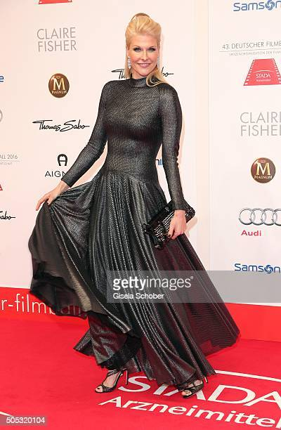 Natascha Gruen dresscoded wearing a dress by Talbot Runhof during the German Film Ball 2016 arrival at Hotel Bayerischer Hof on January 16 2016 in...