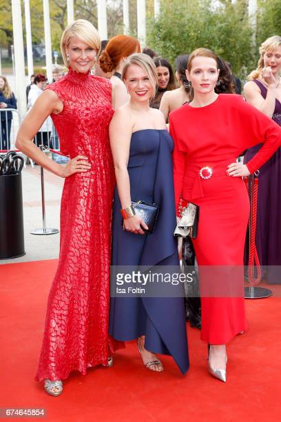 Natascha Gruen german presenter Nova Meierhenrich and german actress Karoline Herfurth during the Lola German Film Award red carpet arrivals at Messe...