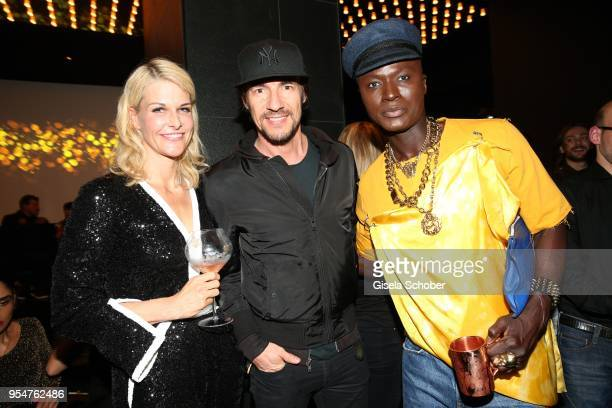 Natascha Gruen, Thomas Hayo, Papis Loveday during the Grand Opening of Roomers Spa by Shan Rahimkhan on May 4, 2018 in Munich, Germany.