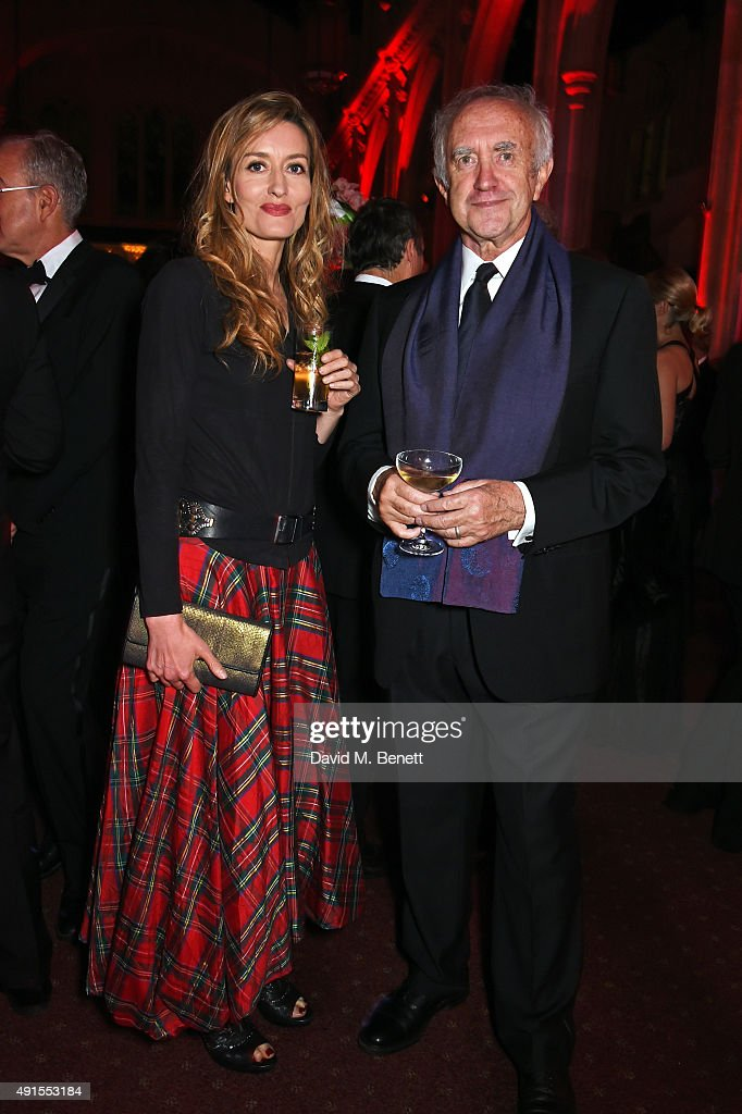 Natascha McElhone (L) and Jonathan Pryce attend a cocktail reception at the BFI Luminous Fundraising Gala in partnership with IWC and crystals by Swarovski at The Guildhall on October 6, 2015 in London, England.