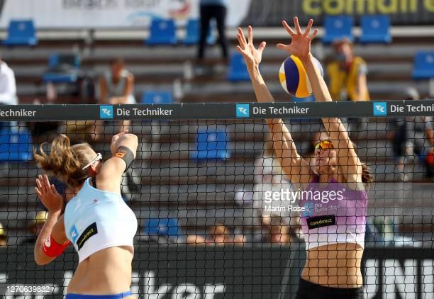 Natascha Niemczyk of Germany in action against Anna-Lena Grüne and Kira Walkenhorst during the match against Anna-Lena Grüne and Kira Walkenhorst of...