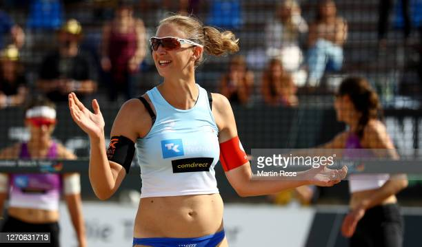 Natascha Niemczyk of Germany reacts during the match against Anna-Lena Grüne and Kira Walkenhorst of Germany on day two of the German Beach...