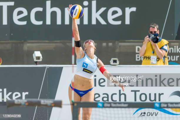 Natascha Niemczyk of TV Dingolfing looks on during the round of 16 match against Kira Walkenhorst and Anna-Lena Gruene at the German Beach Volleyball...