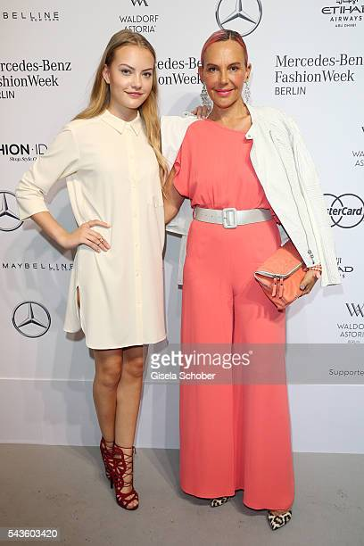 Natascha Ochsenknecht and her daughter Cheyenne Savannah Ochsenknecht attend the Minx by Eva Lutz show during the Mercedes-Benz Fashion Week Berlin...