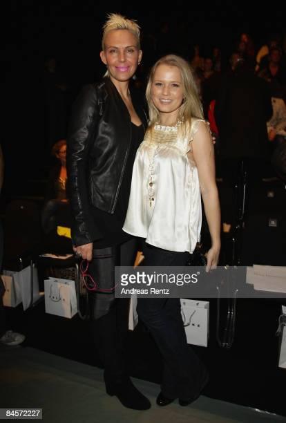 Natascha Ochsenknecht and Nova Meierhenrich attend the 'Kilian Kerner' fashion show during the Mercedes Benz Fashion Week A/W 2009 at Bebelplace on...