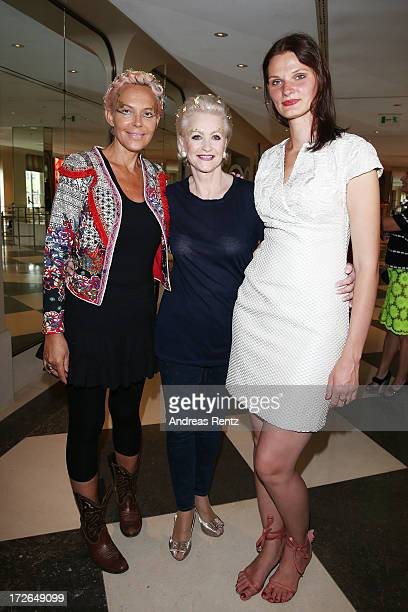 Natascha Ochsenknecht Marika Kilius and Inna Thomas pose before the Sava Nald Show during the MercedesBenz Fashion Week Spring/Summer 2014 at Hotel...