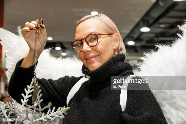 Natascha Ochsenknecht wearing angel wings during a photo call at TK Maxx on December 13 2017 in Berlin Germany