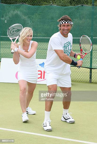 Natash Bedingfield and Pat Cash promote Evian's sponsorship of The Championships Wimbledon at The Hurlingham Club on June 17 2009 in London England