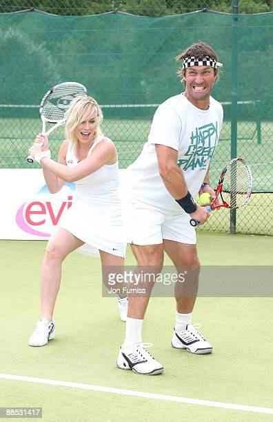 Natash Bedingfield and Pat Cash promotes Evian's sponsorship of The Championships Wimbledon at The Hurlingham Club on June 17 2009 in London England