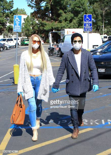 Natasha Alam and boyfriend Justin Benjamin are seen on March 18, 2020 in Los Angeles, California.