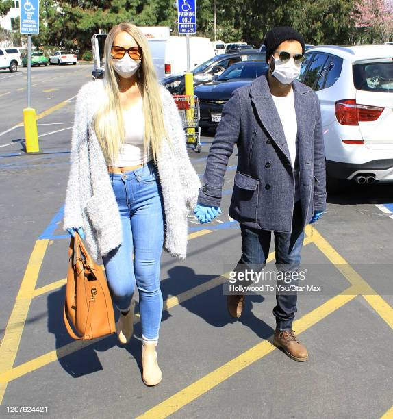Natasha Alam and Justin Benjamin are seen on March 18, 2020 in Los Angeles.