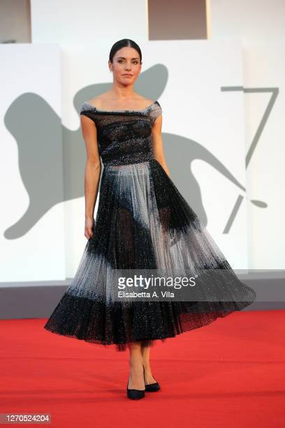 """Natasha Andrews walks the red carpet ahead of the movie """"Amants"""" at the 77th Venice Film Festival at on September 03, 2020 in Venice, Italy."""