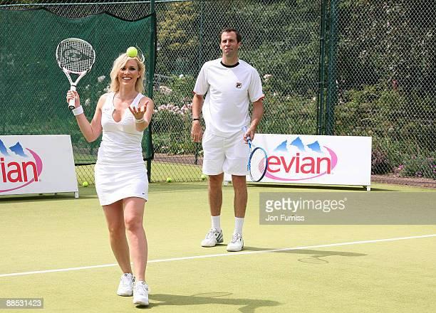 Natasha Bedingfield and Greg Rusedski promote Evian's sponsorship of The Championships Wimbledon at The Hurlingham Club on June 17 2009 in London...