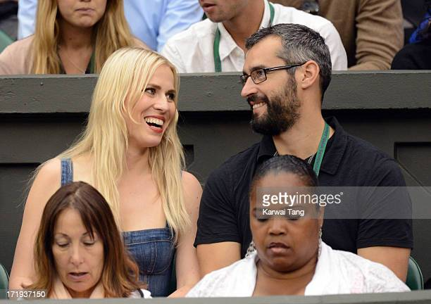 Natasha Bedingfield and husband Matt Robinson attend the Serena Williams vs Kimiko DateKrumm match on Day 6 of the Wimbledon Lawn Tennis...