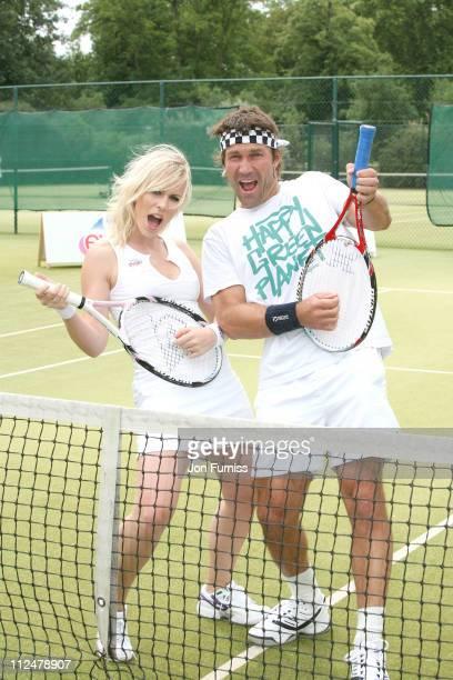 Natasha Bedingfield and Pat Cash promote Evian's sponsorship of The Championships Wimbledon at The Hurlingham Club on June 17 2009 in London England