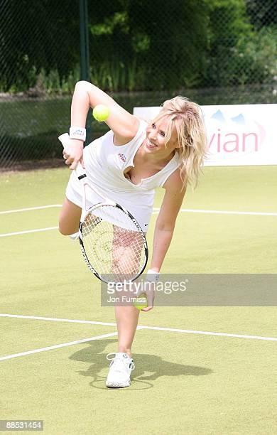 Natasha Bedingfield promotes Evian's sponsorship of The Championships Wimbledon at The Hurlingham Club on June 17 2009 in London England