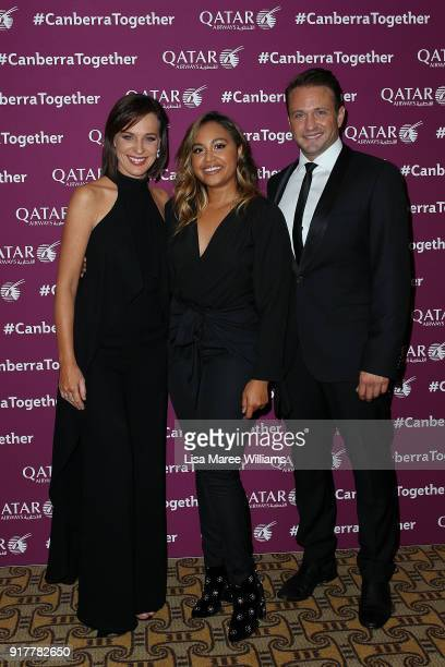 Natasha Belling Jessica Mauboy and Matt Doran pose during the Qatar Airways Canberra Launch gala dinner on February 13 2018 in Canberra Australia